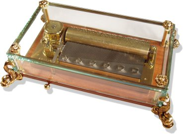 3 tune 72 note Swiss Reuge Crystal Glass Music Boxes from