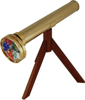 comes with a wooden tripod & in a wooden presentation box